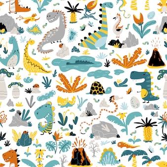 Bonito padrão sem emenda com uma variedade de dinossauros