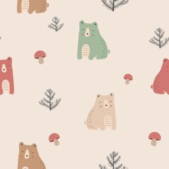 Bonito padrão sem emenda com ursos, cogumelos e árvores mão desenhada ilustração vetorial