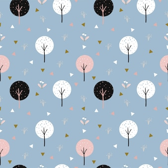 Bonito padrão sem emenda de árvore e triângulo para tecido infantil