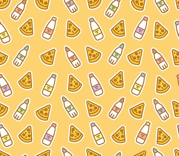 Bonito padrão sem emenda de fatias de pizza e garrafas. leite, água, fast food.