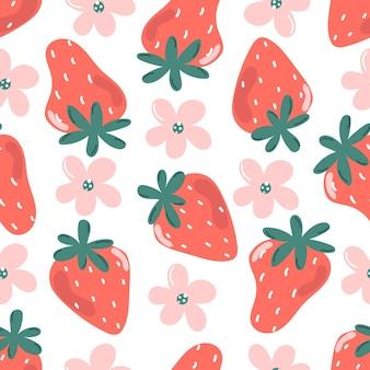 Bonito padrão sem emenda de morango e flores ilustração moderna e plana
