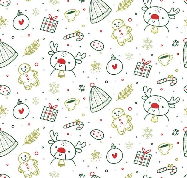 Bonito padrão sem emenda de natal em estilo doodle