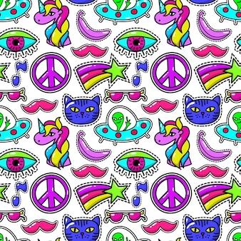 Bonito padrão sem emenda de patches com olho e bigode rosa, óculos escuros e estrela do arco-íris.