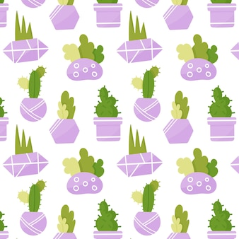 Bonito padrão sem emenda de plantas de casa. suculentas em vasos lilás. vetor premium desenhado à mão