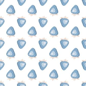 Bonito padrão sem emenda simples com morangos azuis e folhas de impressão delicada para papel de embrulho tex ...