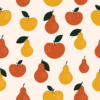 Bonito padrão sem emenda simples com peras e maçãs. colheita de ilustração, frutas, alimentos vegetais saudáveis, vegetariano, produto agrícola. design de papel de embrulho