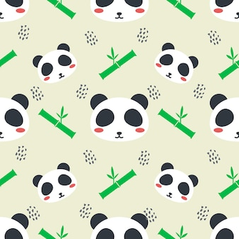 Bonito panda animal vetor sem costura de fundo