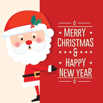 Bonito papai noel com feliz natal e feliz ano novo carta sobre fundo vermelho