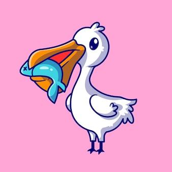 Bonito pássaro pelicano comer peixe ilustração vetorial ícone dos desenhos animados. conceito de ícone de natureza animal isolado vetor premium. estilo flat cartoon