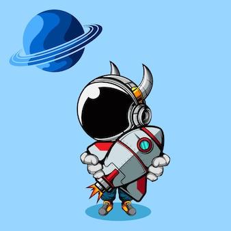 Bonito pequeno astronauta segurando um brinquedo de navio espacial