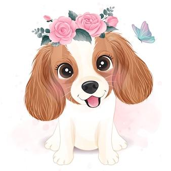 Bonito pequeno cavalier king charles com ilustração floral