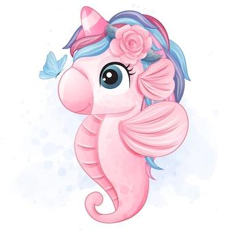 Bonito pequeno cavalo marinho ilustração