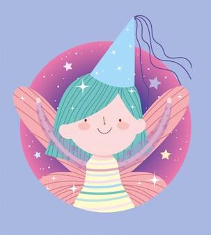 Bonito pequeno conto de fadas princesa dos desenhos animados com chapéu