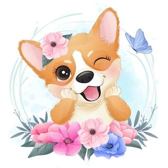 Bonito pequeno corgi com retrato floral
