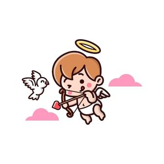 Bonito pequeno cupido voando e trazer uma seta e pronto para disparar.