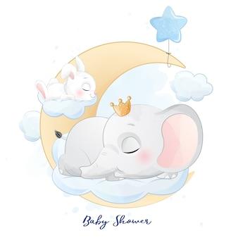 Bonito pequeno elefante e coelho dormindo na ilustração da nuvem