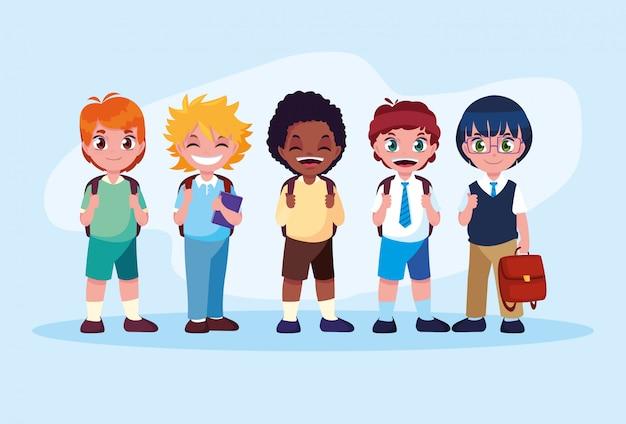 Bonito pequeno estudante meninos avatar personagem