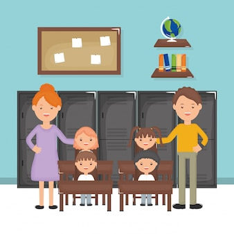 Bonito pequeno grupo de estudantes e professores na sala de aula
