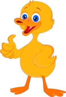 Bonito pequeno pato cartoon polegar para cima