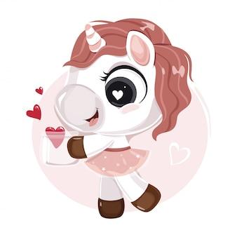 Bonito pequeno personagem de unicórnio com corações em uma jarra