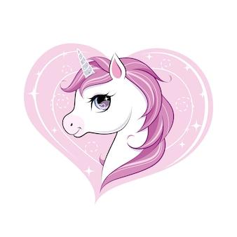 Bonito pequeno personagem de unicórnio sobre forma de coração rosa