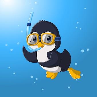 Bonito pequeno pinguim mergulho