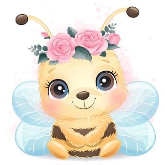 Bonito pequeno retrato de abelha com efeito aquarela