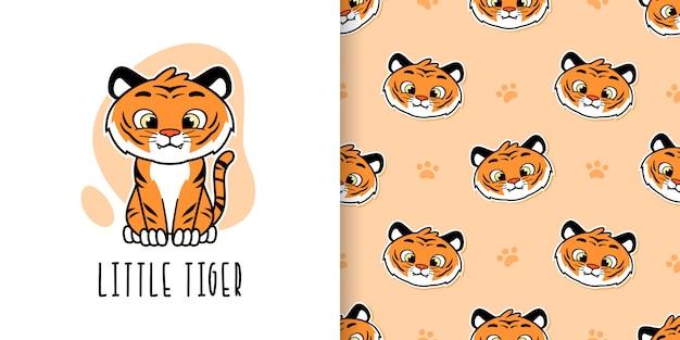 Bonito pequeno tigre sem costura padrão