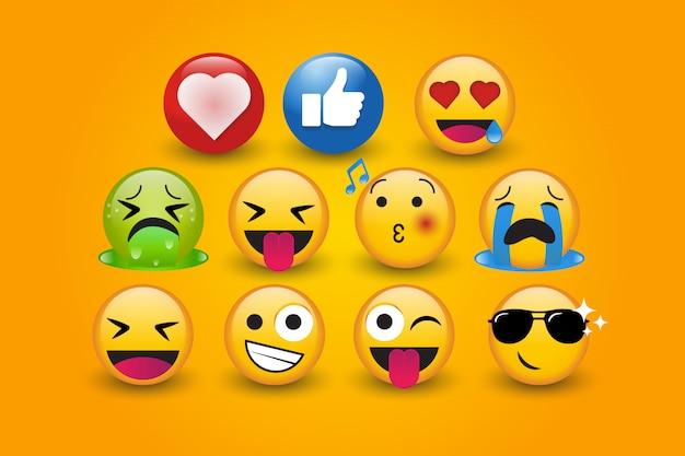 Bonito personagem emoji 3d com amor conjunto coleção de vetores