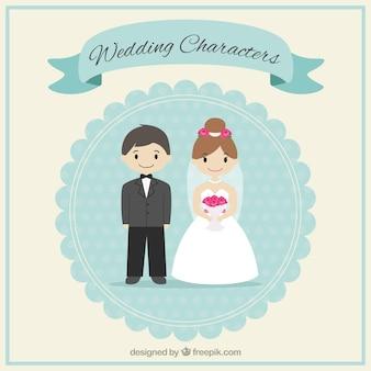 Bonito personagens de casamento