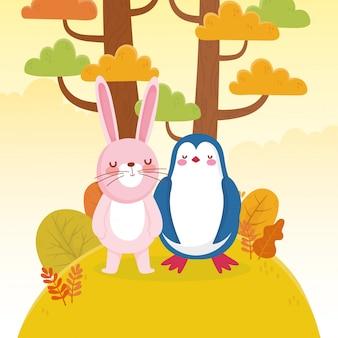 Bonito pinguim e coelho árvores folhagem natureza
