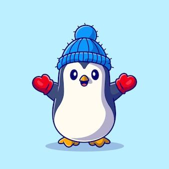 Bonito pinguim usando luva e chapéu dos desenhos animados ícone ilustração. conceito de ícone de inverno animal isolado. estilo flat cartoon