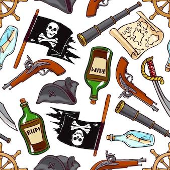 Bonito plano de fundo sem emenda de atributos piratas. ilustração desenhada à mão