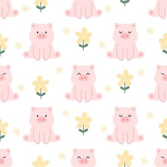 Bonito porco e flores sem costura de fundo