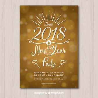 Bonito poster dourado para festa do ano novo