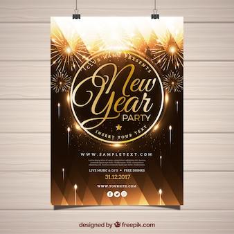 Bonito poster para festa de ano novo com fogos de artifício dourados