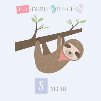Bonito preguiça dos desenhos animados doodle alfabeto animal s