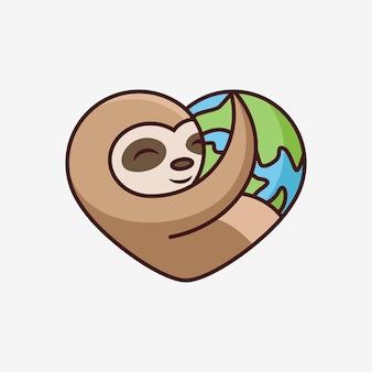 Bonito preguiça que abraça a terra. ilustração do ícone dos desenhos animados. conceito de ícone de animal em fundo branco