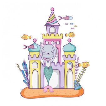 Bonito, purrmaid, com, castelo, submarino