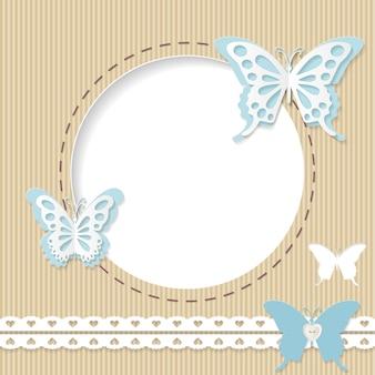 Bonito quadro redondo com papel cortado borboletas no cartão.