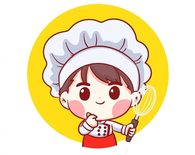 Bonito rapaz chef de padaria segurando batedor mulher ilustração
