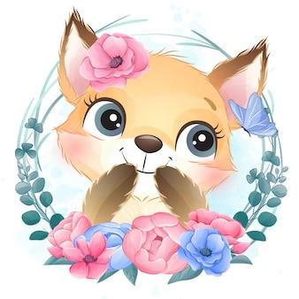 Bonito retrato foxy pequeno com floral