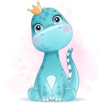 Bonito retrato pequeno dinossauro com efeito aquarela