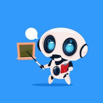 Bonito robô professor manter ponteiro perto de placa de escola isolada ícone no fundo azul tecnologia moderna