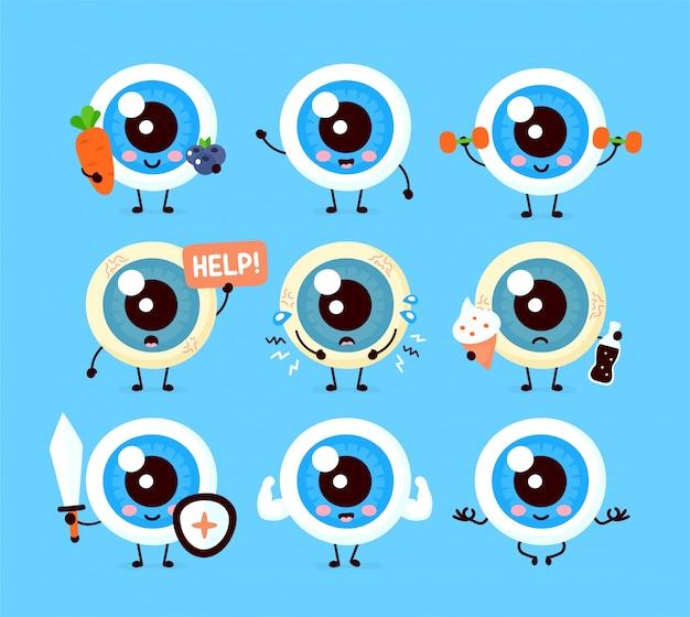 Bonito saudável e feliz doente globo ocular humano órgão conjunto de caracteres coleção. cartoon plana ilustração ícone do design. isolado no fundo branco conceito de personagem de cuidados com os olhos