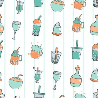 Bonito, seamless, padrão, com, bebida