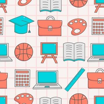 Bonito, seamless, padrão, com, educação