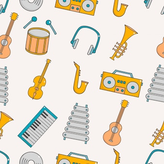 Bonito, seamless, padrão, com, música