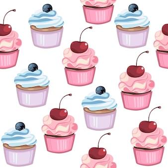 Bonito sem costura padrão cupcake
