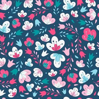 Bonito sem costura padrão floral sobre um fundo escuro